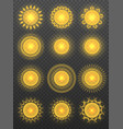 set of various transparent suns vector image