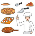 set pizza and pizza chef vector image