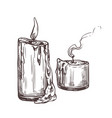 sketch candles with fire and smoke vector image vector image
