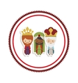 sticker border with the three wise men cartoon vector image vector image