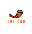 tail shrimp and lime in it ceviche concept vector image vector image