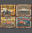 vintage cars and vehicles rusty metal plates vector image vector image