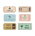 Vintage cinema circus and party tickets set vector image vector image