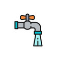 water tap flat color line icon isolated on white vector image