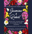wedding invitation floral card with spring flower vector image vector image