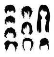 hairstyle man and woman black2 vector image