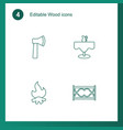 4 wood icons vector image vector image