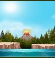 a nature volcano landscape vector image vector image