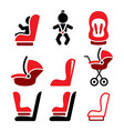 baby car seat icons toddle car seat - safe vector image vector image
