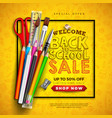 back to school sale design with colorful pencil vector image vector image