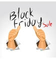 black friday sale and thumbs up vector image vector image