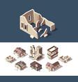 broken houses isometric set abandoned vector image vector image