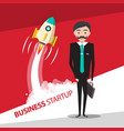 business startup design with rocket launch and vector image vector image