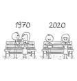 cartoon comparison loving couple sitting on vector image