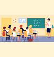 children in classroom school teacher boy girl on vector image vector image