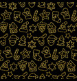 christmas toys seamless pattern from gold outline vector image