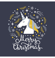 Christmas with unicorn vector image