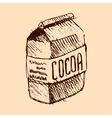 cocoa bag hand drawn sketch vector image vector image