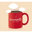 coffee cup with text breakfast vector image vector image