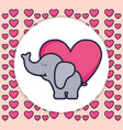 cute and little elephant with heart vector image vector image