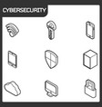cybersecurity outline isometric icons vector image vector image