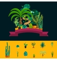 Desert flowers Exotic plant bush palm tree vector image