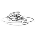 dish with delicious italian pizza vector image vector image