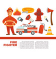 fire fighter with work equipment on promotional vector image vector image