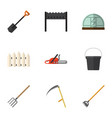 flat icon farm set of hay fork wooden barrier vector image