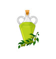 glass bottle of olive oil organic healthy oil vector image