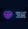 glowing neon valentines day sign with heart vector image
