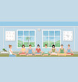 groups of people practicing meditation vector image vector image
