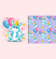 hand drawn cute dragon and balloons with pattern vector image vector image