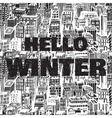 Hand drawn winter big city with text Hello vector image vector image