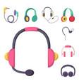 headphones set music technology accessory vector image vector image