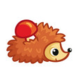 hedgehog on a white background carries a red vector image vector image