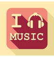 I love music flat retro vintage icon vector image