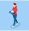 isometric online christmas shopping delivery vector image vector image