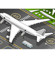 Isometric White Airplane Landed in Rear View vector image