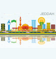 jeddah skyline with color buildings blue sky and vector image vector image