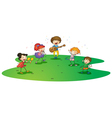 kids enjoying music vector image vector image