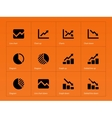 Line chart and Diagram icons on orange background vector image vector image