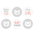 lovely baby shower round shape tag set vector image vector image