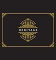 luxury ornament vintage logo template design vector image vector image