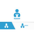 man and repair logo combination people