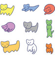 minimal colorful funny kittens vector image