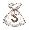 money bag dollar sign on sack isolated sketch