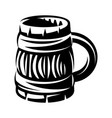 monochrome with wooden mug for vector image vector image