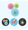 Set icons with gears rocket volume control vector image vector image