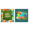 set of cartoon banners with school vector image vector image